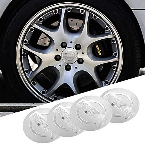 4 Piezas Tapas Centrales Tapacubos para Nissan Qashqai Juke X-Trail Terrano Kicks 56mm, Rueda Resistente Al Agua Y Al Polvo Tapa Decoración Accesorios