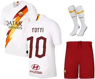 Totti #10 2019-2020 AS Roma Kids/Youths Away Soccer Jersey/Short/Socks Colour White