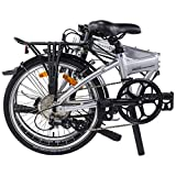 """Dahon Mariner D8(Limited Edition) Folding Bike, Lightweight Aluminium Frame 8-Speed Shimano Gears 20"""" Foldable Bicycle for Adults, Silver"""
