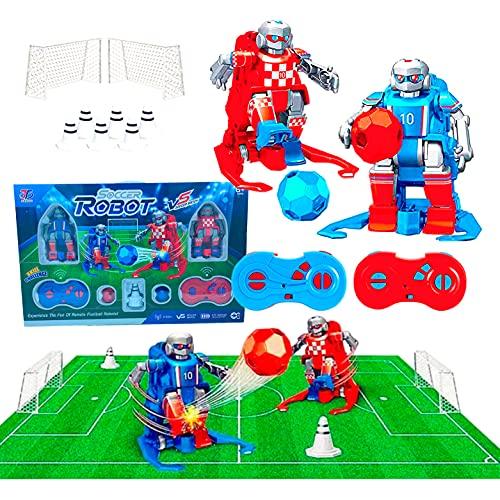 JUGUETECNIC │ Soccer Robots interactivos │Juego de Mesa Futbol │ Futbolín para Niños Interactivo | Juguete Robots Teledirigidos │ Campo, Porterías, Mandos y Conos