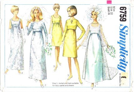 Simplicity 6759 Sewing Pattern Wedding or Evening Dress with Detachable Train and Jacket Check Listings for Size