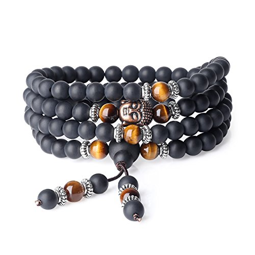 coai 6mm 108 Mala Beads Matte Onyx Brown Tiger Eye Wrap Stones Bracelet Necklace