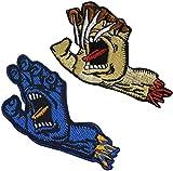 Santa Cruz - Patineta de mano con gritos personalizados bordados Morale parches con cierre de gancho y bucle en la parte trasera para uniforme, camisa de trabajo, sombrero, 8.35 x 5.17 pulgadas