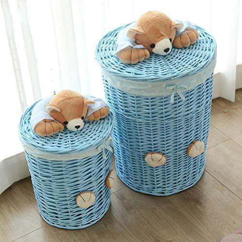 Cestas de mimbre tejidas redondas para la colada, cesta de almacenamiento con tapa de la cabeza de oso pequeña cesta grande para la ropa panier-cesta azul + tela de puntos azul_grande + pequeño