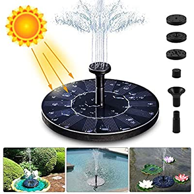 LIUMY Solar Fountain Pump, 1.4W 150L / H Circle Solar Power Water Fountain Panel with 6 Attaches, Floating Pump for Pond, Fountain, BirdBath, Garden Decoration, Water Cycling, No Electricity Required by LIUMY