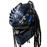 Predator Motorcycle Helmet - DOT Approved - Unisex - Blue Spiked