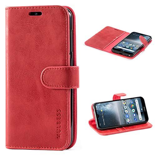 Mulbess Handyhülle für Nokia 4.2 Hülle Leder, Nokia 4.2 Handy Hüllen, Vintage Flip Handytasche Schutzhülle für Nokia 4.2 Hülle, Wein Rot