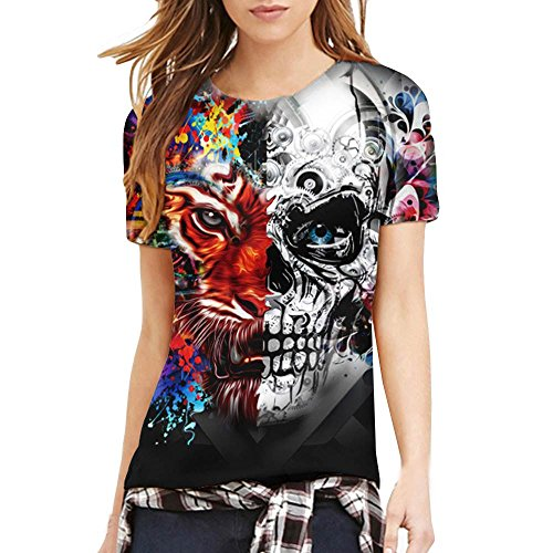 Deelin heren vrouwen verliefd T-shirt schedel en tijger 3D motief O-hals korte mouwen thee blouse tops zomer nieuw voor mannen