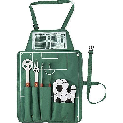 Grillschürze Kochschürze Fußballfeld incl. Grill-Besteck und Fußball-Handschuh - 77530