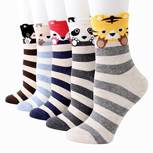 Bakicey Damen Socken Mädchen Stricken Socken Strümpfe Baumwolle Nette Cartoon Tier Gemustert Niedlich Socken - Unisex Sport Socken Füßlinge Kurzsocken Frauen Socken 5 Paar, Kleiner Tiger