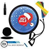 23 inch Half Balance Ball with Straps, Elastic Resistance Bands & Slide Discs | Anti Slip, Durable & Portable | for Core Training, Yoga, Pilates. by Insane Move 2019 New