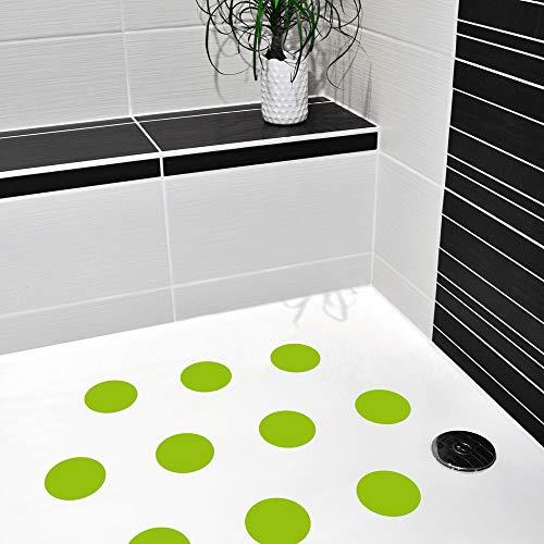 AnTina TAPES Antirutschaufkleber/Sticker für Duschen & Badewannen, farbig, Rutschklasse C DIN 51097, selbstklebend, 10 Stück (grün)