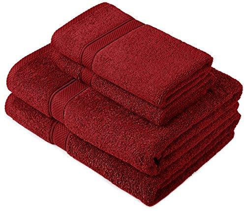 Pinzon by Amazon Handtuchset aus Baumwolle, Cranberry-Rot, 2 Bade- und 2 Handtücher, 600g/m²