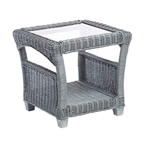 Desser Dijon Grey Side Table with Storage Shelf – Glass Top Lamp Table with Natural Wicker Rattan Cane Frame Indoor Conservatory, Living Room & Bedroom Furniture – H57cm x W59cm x D59cm
