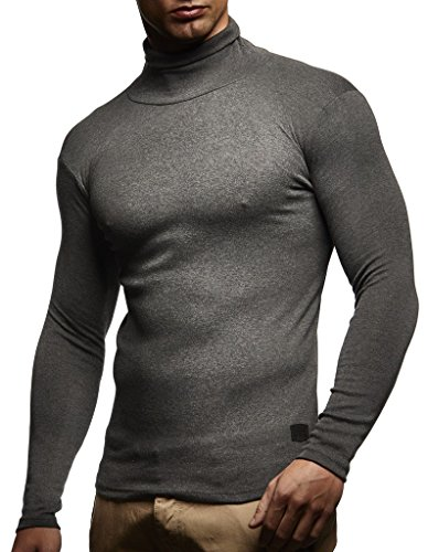 Herren Rollkragenpullover Pullover Rollkragen Hoodie T-Shirt Slim Fit; Größe M, Anthrazit