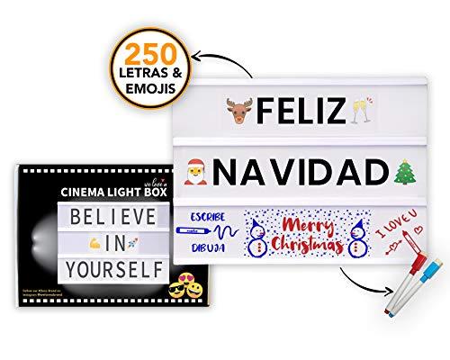 Caja de Luz LED A4 con 250 Letras Símbolos Emojis, 2 Marcadores Borra