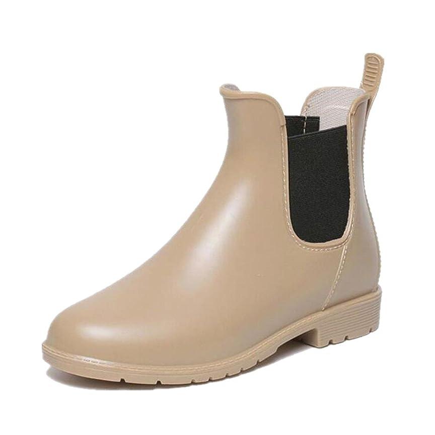 息切れ橋常習的雨靴 レインブーツ シューズ レディース 滑り止め ベージュ 【36】23cm