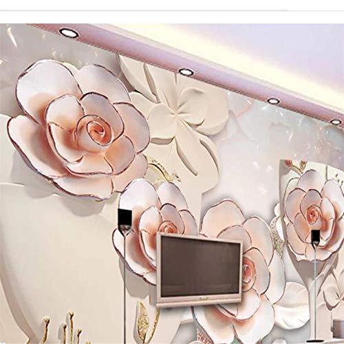 ZJfong wallpaper 3d fotobehang reliëf wijnglas roze sofa slaapkamer woonkamer TV achtergrond muur wooncultuur 250 x 175 cm.
