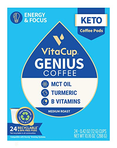VitaCup Genius Coffee Pods with MCT OIL, Turmeric, and Vitamins for Energy, Focus, & Metabolism, Keto, Paleo, Whole 30 in Recyclable Single Serve Pod Compatible with K-Cup Brewers Including Keurig 2.0, 24 Ct