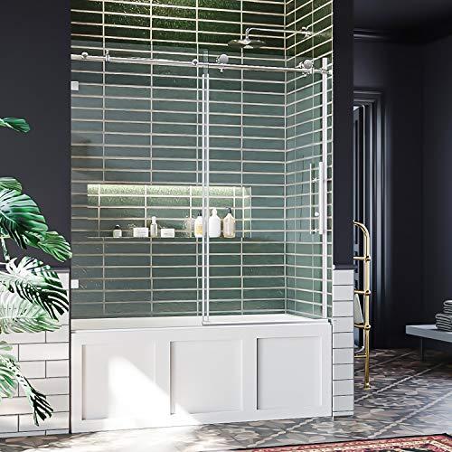 ELEGANT 60' W x 62' H Sliding Tub Shower Door, Frameless Bathtub Shower Door with 3/8' Clear Glass, Chrome Polished Stainless Steel