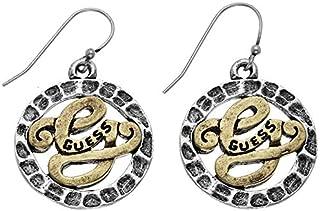 Guess UFE50806 Filigree Engraved Logo Fish- Hook Dangle Earrings for Women