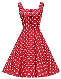 VKStar® Vintage Abendkleid, Damen, quadratisch, Blumenmotiv, mit Knöpfen, Cocktailkleid, ärmellos, kariert, elegant, Rockabilly Gr. Large, Rot 1