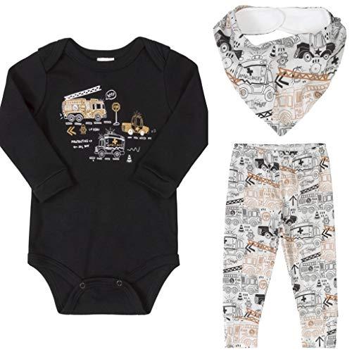 Conjunto Bebê Menino Algodão Body Manga Longa Calça Bandana 03 Peças Roupas de Bebe Meios de Transporte Branco e Preto Up Baby (M 6-9 meses)