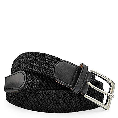Gloop Unisex Elastischer Stoffgürtel Geflochtener Stretchgürtel Dehnbarer Gürtel für Damen und Herren Breite, Schwarz, 135 CM