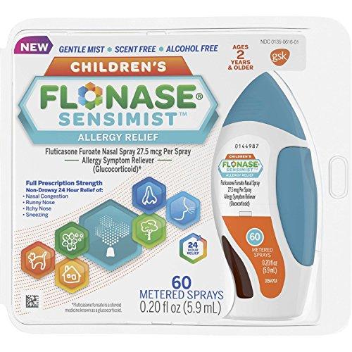 Flonase Sensimist Allergy Relief Nasal Spray, 24 Hour Non Drowsy Children's Allergy Medicine - 60 Gentle Sprays
