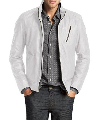 Laverapelle Men's Genuine Lambskin Leather Jacket (White, Large, Polyester Lining) - 1501210