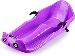 WE&ZHE Snow Sled for Adults and Kids- Toboggan Sled with Brakes & Anti-Slip Foot Panel,Double Thickening Skis, Veneer Skiing Board Sanding Equipment