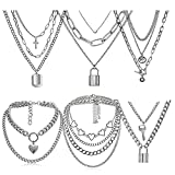 6 PCS Chain Necklace Egirl Men Male Emo Goth Chains Statement Lock Key 1-4 Layered Pendants Necklace for Women Teen Girls Boys Eboy Long Multilayer Chains Punk Choker Silver and Gold Set