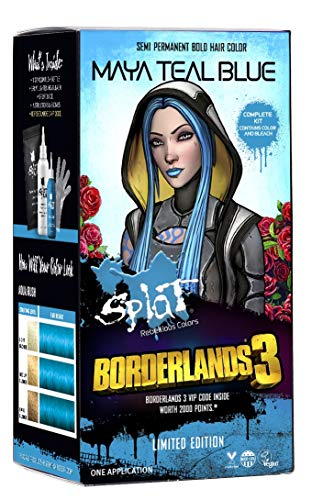 Splat | Borderlands 3 | Maya Teal Blue Hair Color with Bleach | Complete Hair Dye Kit | Semi-Permanent | 30 Wash | Vegan and Cruelty-Free