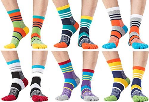 UUMONNG 6 pares de calcetines de algodón para mujer, 6 dedos para hombre, transpirables y suaves