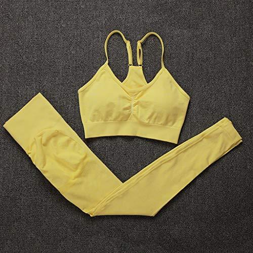 XYZMDJ Nahtlose Gym Set Frauen Fitness Yoga Set Sport-Klage mit hohen Taille Gamaschen und Push-Up-BH Set Sport (Color : Yellow, Size : L Code)