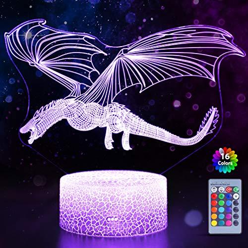 WHATOOK Drachen-3D-Illusionslampe für Jungen, Drachenlampe, 16 Farben, mit Fernbedienung, Smart Touch, fliegender Drache, Nachtlicht, beste Weihnachts- und Geburtstagsgeschenke für Jungen und Mädchen