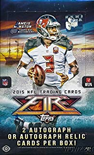 2015 Topps FIRE NFL Football Factory Sealed HOBBY Box with 20 Packs & TWO(2) AUTOGRAPH Cards! Look for Rookie Cards & Autographs of Jameis Winston, Marcus Mariota, Todd Gurley & Many More!On FIRE!