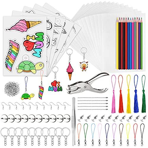 PLULON 339 Pcs Kit Plástico Termocontraíble,20 Papel Blanco Encogible,5 Papel Arte Retráctil con Patrón,Perforadora,Lápices Colores,Accesorios Llaveros para Adornos Bricolaje, Manualidades