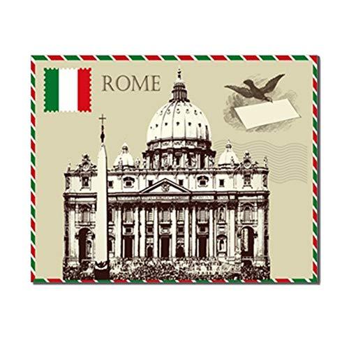 Rome Gebouw Ansichtkaart Posters en Prints Kunstwerk Modern Canvas Schilderij Muur Foto voor Woonkamer Huisdecoratie -50x70cm Geen lijst
