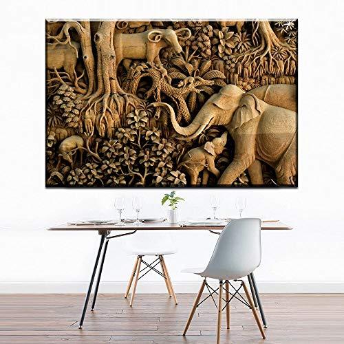 NSRJDSYT Pittura su Tela Stile semplice in Bianco e Nero Acquerello Nordic Animal Elephant famiglia Pittura a Olio Home Decor Senza Cornice P.-50x75cm Senza telaio