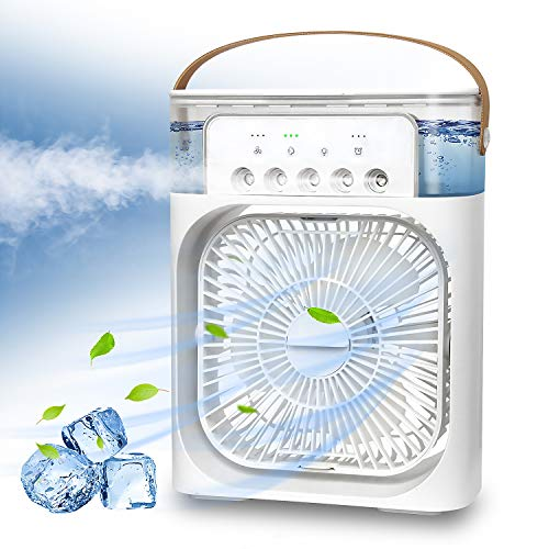 NTMY Portable Air Conditioner Fan, Mini Evaporative Air Cooler with 7 Colors LED Light, 1/2/3 H Timer, 3 Wind Speeds and 3 Spray Modes for Office, Home, Dorm, Travel