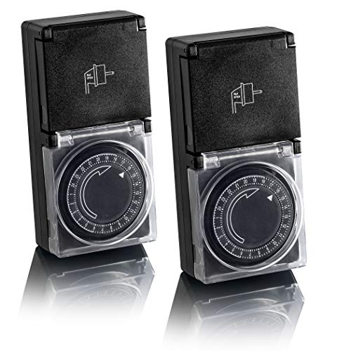 SEBSON® Zeitschaltuhr für Außen IP44, mechanisch, analog, 24h Timer, 3600W, einfache Handhabung, Stunden-Zeitschaltuhr, 2er Pack