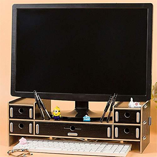 ZHENAO Suministros de Oficina Rack Computador de Madera Elevación Hack Multi-Drawer Desktop Storage Rack Esquema de Escritorio Alenamiento de Alenamiento Compartimiento fuerte y rob