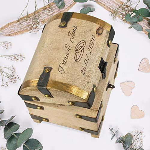 Schatztruhe aus Mangoholz zur Hochzeit (Ringe) mit Namen und Datum personalisiert: Geldgeschenke fürs Brautpaar - Geschenkidee zur Hochzeit mit Gravur