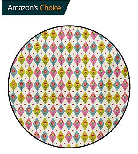 RUGSMAT - Alfombra Redonda pequeña con diseño de Flores, Antideslizante, Color Rosa pálido, Verde Helecho Blanco, Polipropileno, Style-04, Diameter-51