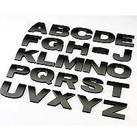1ピース車のステッカーシルバーブラック3D文字AZ / 0 9エンブレムデジタルフィギュア番号DIY