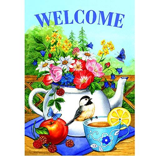 MXJSUA 5D Kit de Pintura de Diamante Cuadrado Completo DIY Taladro Imagen Arte Artesanal para decoración de Pared del hogar Adultos y niños Bienvenido Flor Pájaro 30x40cm