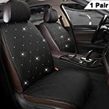 Black Panther 1 Pair Luxury PU Leather Front Car Seat Covers Protectors with Blingbling Rhinestones for Women Girls, Universal Fit 95% of Cars, Black