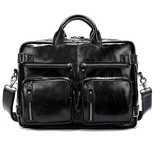Vintage Leather Mens Briefcase Backpack with Convertible Laptop Bag 3 Inch Waterproof Bag for Work, Business Travel, Business - Black -