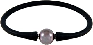 Handpicked AA Quality 11-11.5mm Freshwater Cultured Pearl Black Silicone Stretchable Bracelet